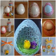 Easter Decorations To Make by Diy Easter Egg Basket From Thread Styrofoam Ball Easter Egg