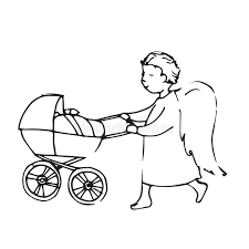 angel with a baby carriage cute little man stock vector image