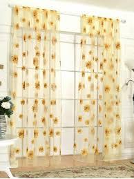 Sunflower Yellow Curtains Yellow 100 200cm Sunflower Print Fabric Tulle Window Curtain