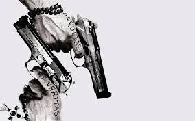 aequitas black and white boondock saints guns posters