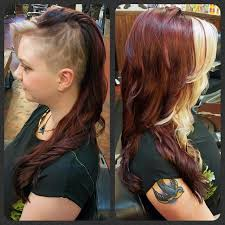 long hair at the front shaved at the back lily flower shaved side hair design wine red hair color with