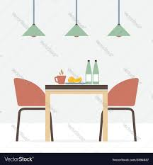 flat design interior dining room royalty free vector image