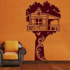aliexpress com buy adorable tree house fairyland hut wall decals aliexpress com buy adorable tree house fairyland hut wall decals vinyl sticker kids baby nursery bedroom decor home art murals stencils from reliable