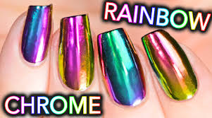 diy rainbow chrome nails w new multi chrome powder no gel youtube