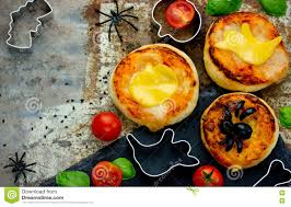 halloween background funny halloween food background funny mini pizza for party stock photo