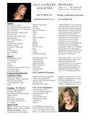 Musical Theatre Resume Examples by Resume For Theater Free Resume Example And Writing Download