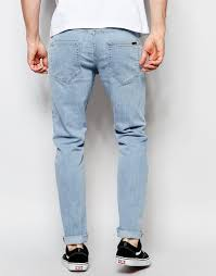 light stone washed mens jeans lyst dr denim jeans clark slim 80s stone wash blue in blue for men