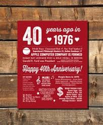 40th anniversary ideas 40th anniversary gift 40 years wedding anniversary personalized