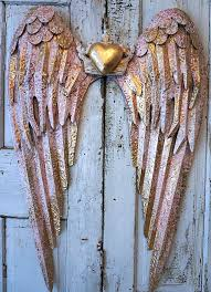 pink metal angel wings gold heart wall hanging large rusty