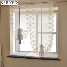 online shop sebyfd tulle curtains garden style bows embroidery