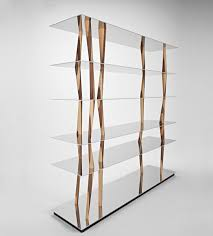 Walnut Bookshelves Original Design Bookcase Walnut Aluminum Glass Sendai By