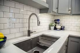 brite white subway tile 3x6 classic french gray shaker cabinets