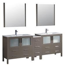 fresca torino 84 inch grey oak modern double sink bathroom vanity
