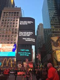 free world ads on times square thanksgiving weekend press