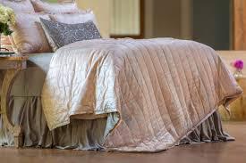 Skirted Coverlet Lili Alessandra Moderne Blush Velvet Silver Print Quilted Pillow