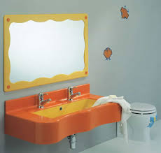 orange sink idea with yellow framed mirror and wallstickers for