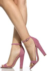 mauve faux suede chunky ankle strap heels cicihot heel shoes