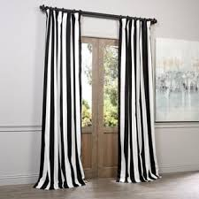 Black And White Stripe Curtains Exclusive Fabrics Cabana Black Stripe Cotton Curtain Panel Free