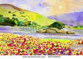 Paint Colorful - watercolor landscape original painting colorful daisy stock