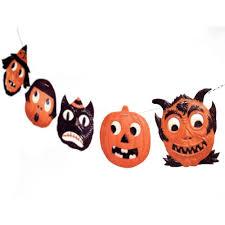 handmade vintage halloween jack o lantern garland german die cut