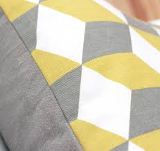 Grey Linen Cushions Geometric Yellow And Grey Linen Cushion Cover By Quirkybee