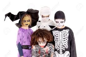 Kids Halloween Scary Costumes Group Kids Scary Costumes Halloween Isolated