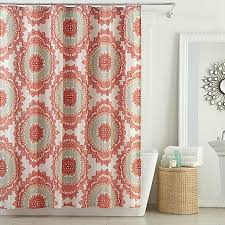 Bed Bath And Beyond Shower Curtain Liners Anthology Bungalow Shower Curtain In Coral Bed Bath U0026 Beyond