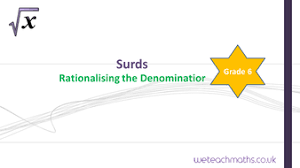 surds rationalising the denominator by weteachmaths teaching
