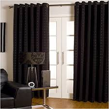 extra wide long lined eyelet curtains black silver 90x108