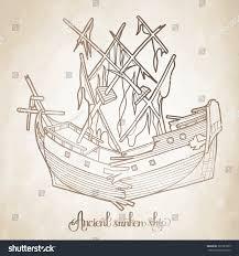 ancient broken sunken ship graphic vector stock vector 361987625