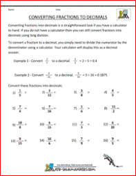Worksheet On Converting Decimals To Fractions Convert Fractions To Decimal