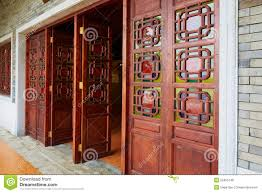 Classical House Design Asian Chinese Wooden Door Wood Gate Of Classic House Stock Photo