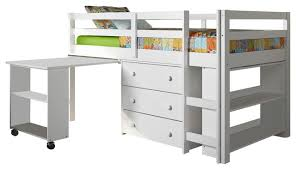 donco kids studying student low loft bed white twin