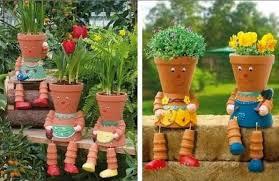 diy clay flower pot people for your garden garden lovers club