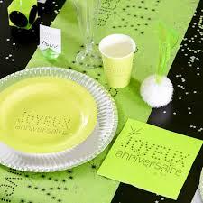 vaisselle jetable fete serviette ja vert anis déco table vaisselle jetable féezia
