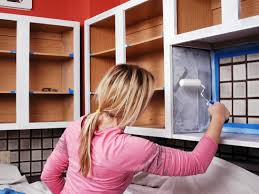 how to improve your kitchen by spray painting the cupboard doors