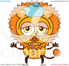 clipart of a cartoon sick male lion royalty free vector