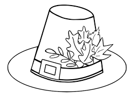 pilgrim hat autumn leaves thanksgiving coloring pages 557863