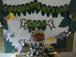 jungle theme decorations jungle baby shower ideas green paper banner with monkey chocolate