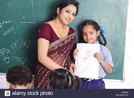 indian teacher classroom kids student teaching stock photo