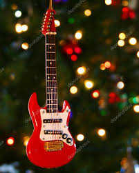 a electric guitar ornament and lights stock photo