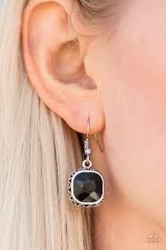 swag earrings paparazzi turn on the swag black gem silver tone clip on