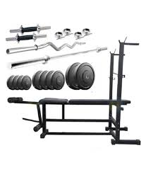 Bench Press Online Buy - facto power 6 in 1 bench press 56 kg rubber weight plates