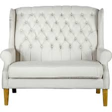 White Tufted Loveseat High Back Living Room Chair Fpudining