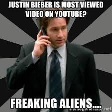 Aliens Meme Video - justin bieber is most viewed video on youtube freaking aliens
