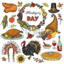 thanksgiving day icons seamless pattern doodle background autumn