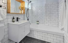 bathroom gray subway tile glass shower view full size contemporary