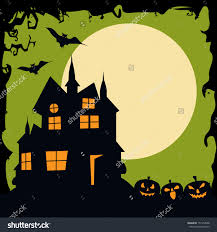 vintage halloween moonlight night background haunted stock vector