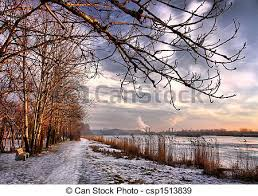 stock photographs of sunset in the end of winter city lake