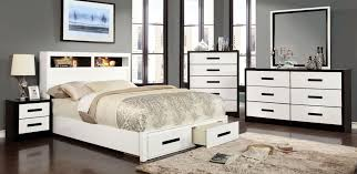 Ottawa Bedroom Set With Mirror Rutger White And Black Storage Bedroom Set From Furniture Of